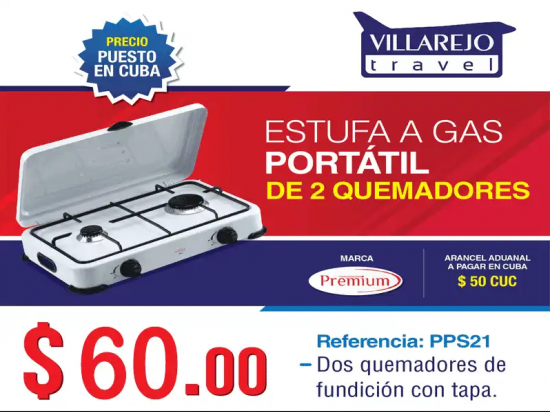 Estufa a gas portátil de 2 quemadores marca Premium