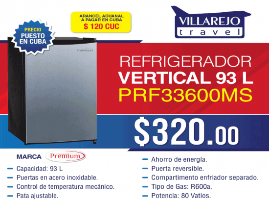 Refrigerador vertical 93 L marca Premium