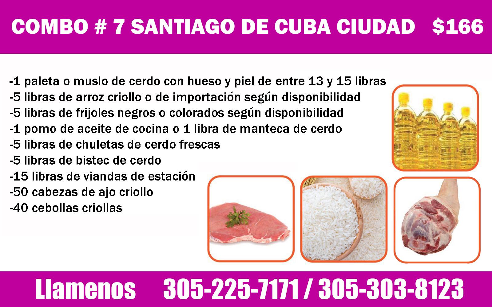 COMBO # 7 SANTIAGO DE CUBA CIUDAD $ 166