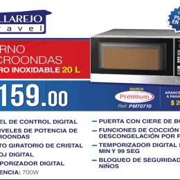 Horno microondas acero inoxidable 20 L marca Premium